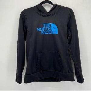 The North Face Black with Blue Spellout Hoodie